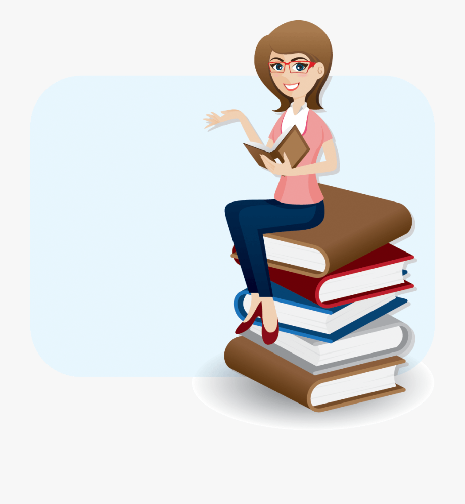 Cartoon Woman Reading Book On Stack Of Books.