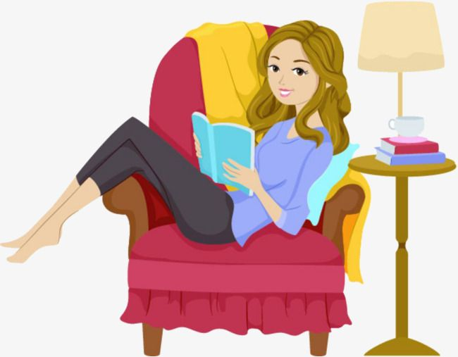 A Woman Reading On A Sofa, Woman Clipart, Reading Clipart.