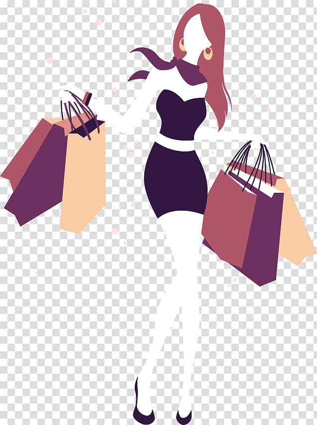Woman shopping , Shopping Girl Illustration, Fashion girl.