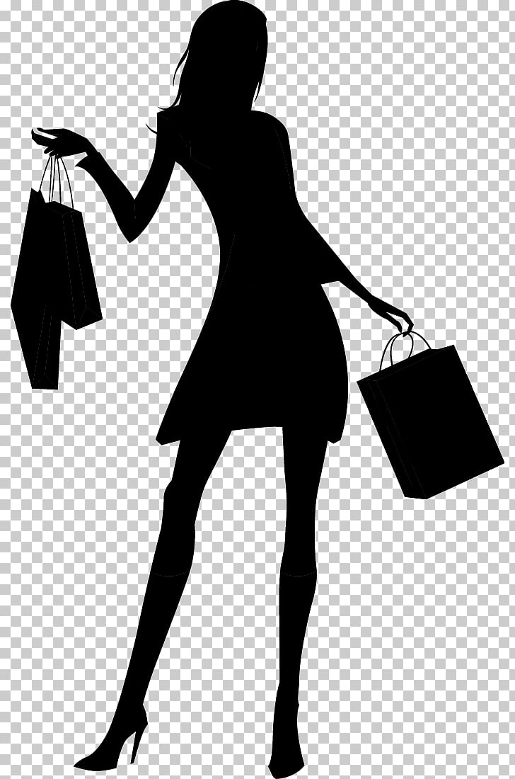 Silhouette Woman Shopping, Fashion shopping girl silhouette.