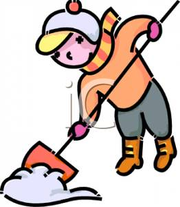 Clipart Woman Shoveling Snow.