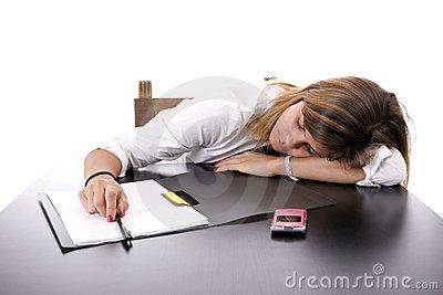 Young Woman Sleeping On Desk Stock Photos.