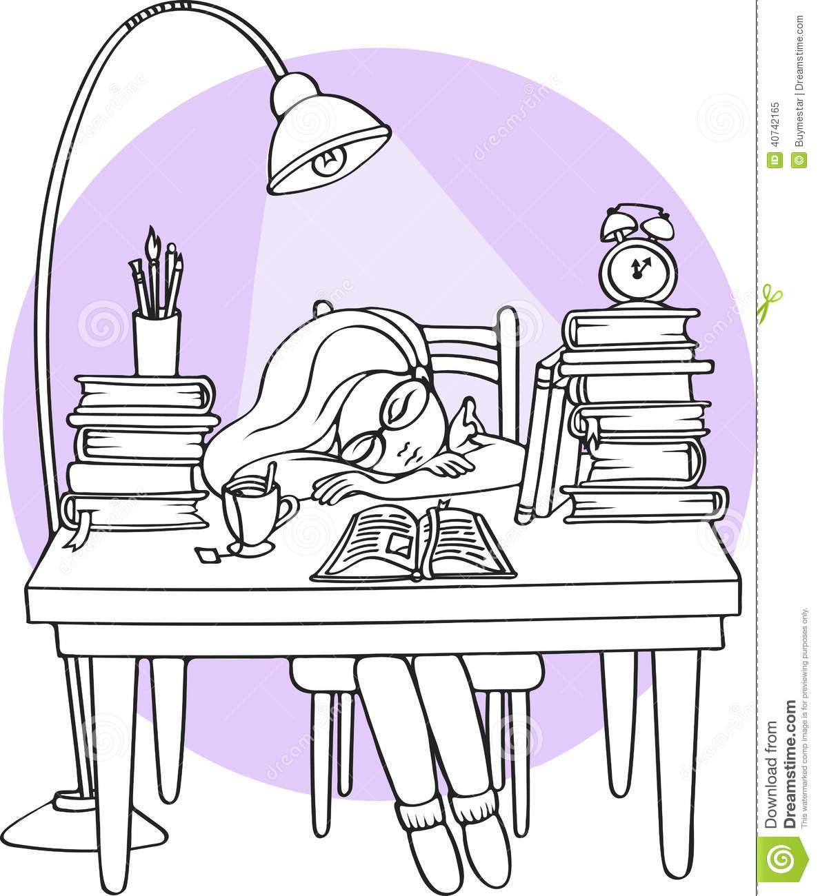 Smart Girl Studying At Night Sleeping On The Desk With Books.
