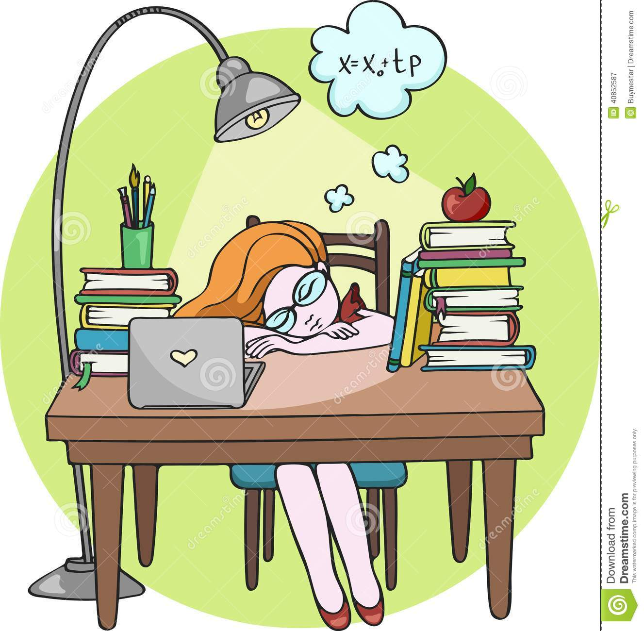 Clipart Woman Sleeping At Desk.