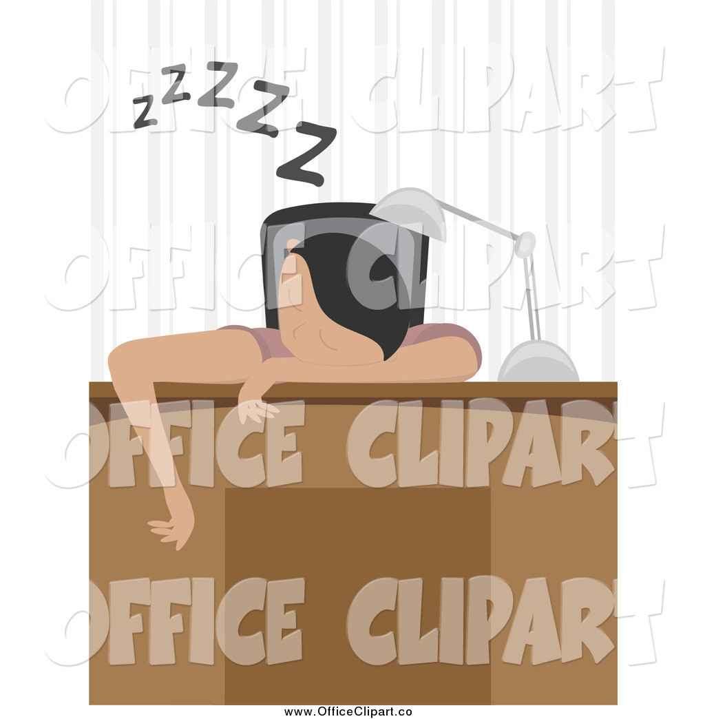 Clip Art of a Tired Man or Woman Sleeping over Their Desk by Mheld.