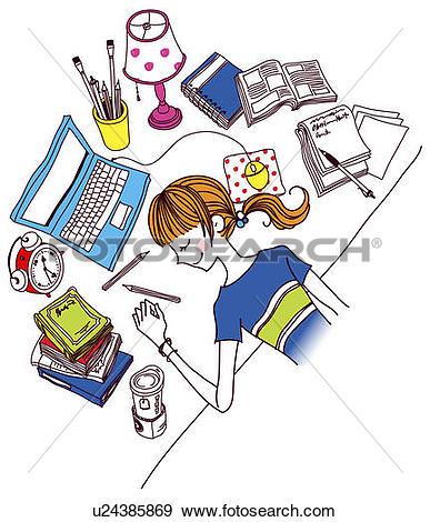 Stock Illustration of Woman sleeping on desk in office u24385869.