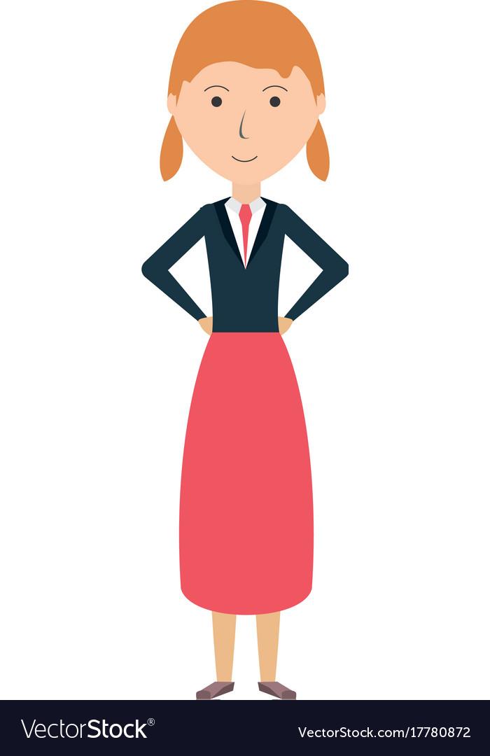 Cartoon woman standing icon.