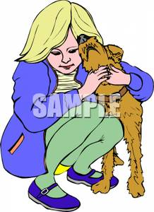 Clipart Woman And Dogs.