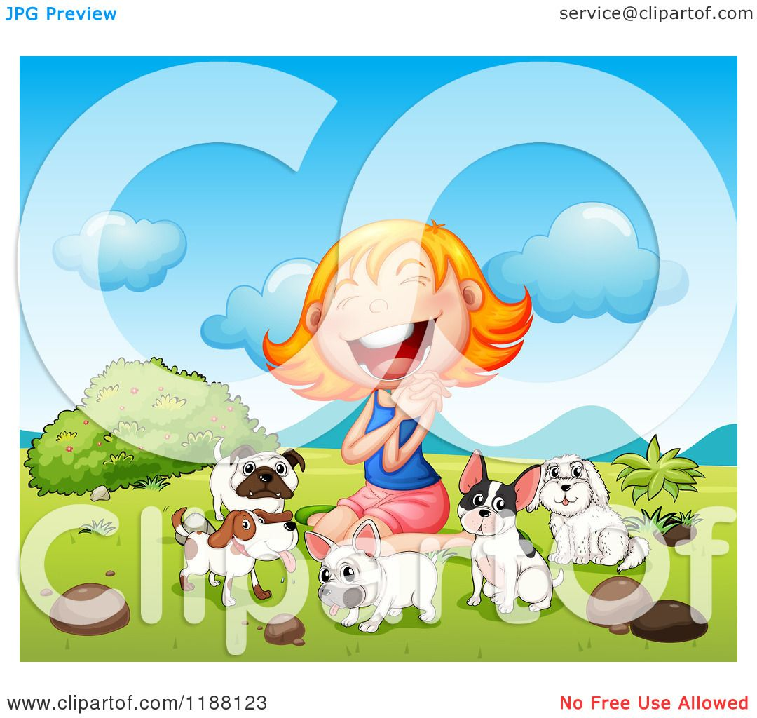 Cartoon of a Blond Woman Laughing with Glee, Surrounded by Dogs.