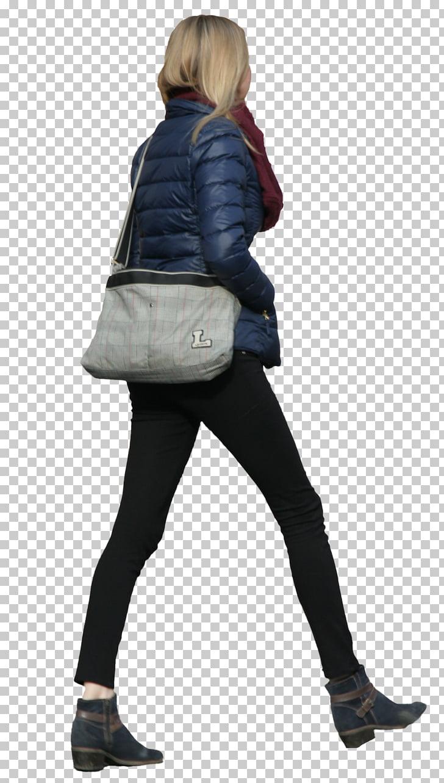 Walking Tall Woman, walk, woman wearing blue bubble jacket.