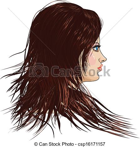 Clipart Vector of Girl with brown hair.