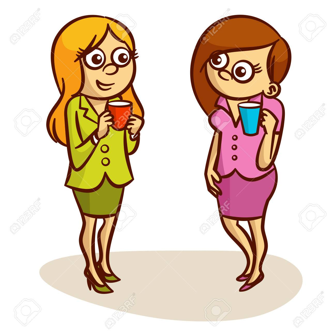 Two Women Coffee Break Clipart.