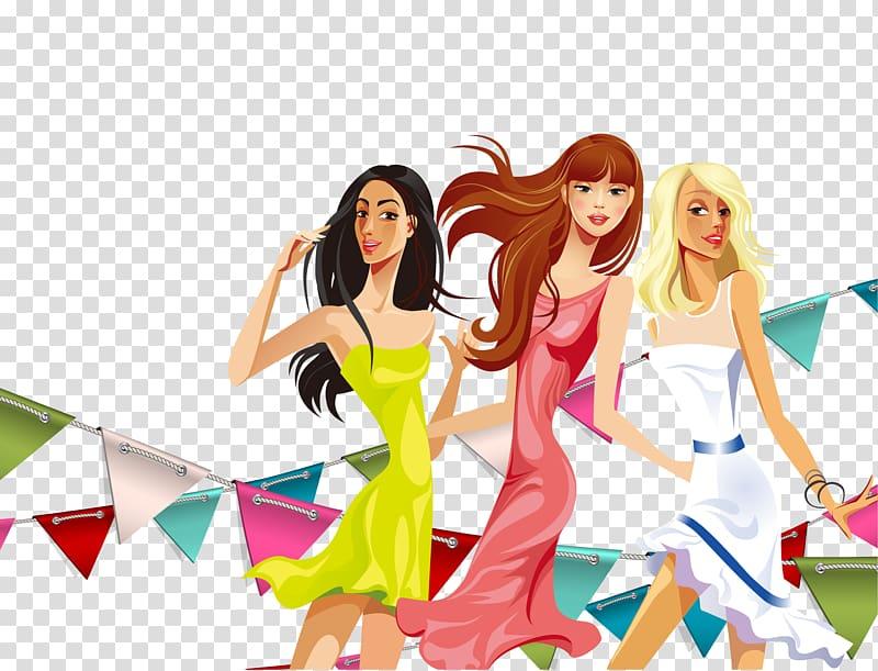 Three women illustrations, Fashion Girl Cartoon Illustration.