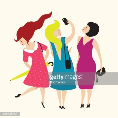 Three Young Women Friends Club Clipart Image.