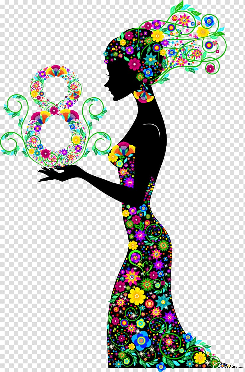 Woman in multicolored floral dress art, March 8.