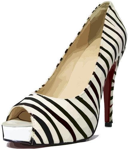 womens zebra stripes high heel shoe clip art png clipart.