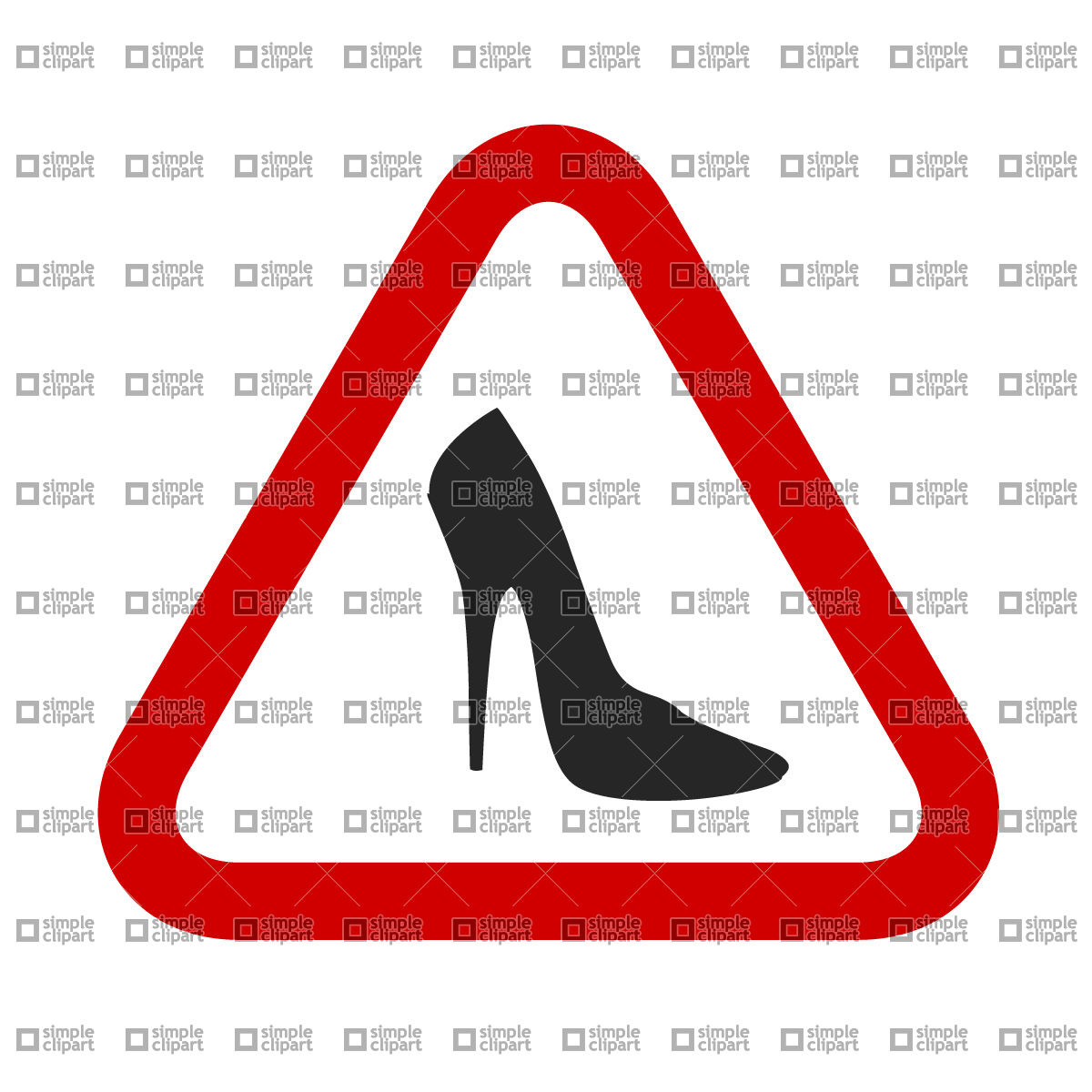 Caution, woman! High Heels Shoes sign, download free vector.