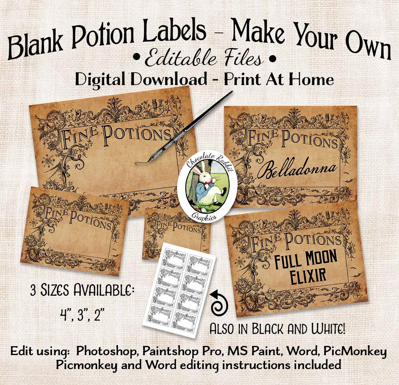 Halloween Potion Witch Apothecary Labels Editable Digital Download.