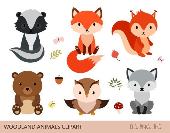 Cute woodland animals. Digital clipart. Printable/scalable.