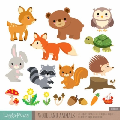 woodland creatures , Free clipart download.