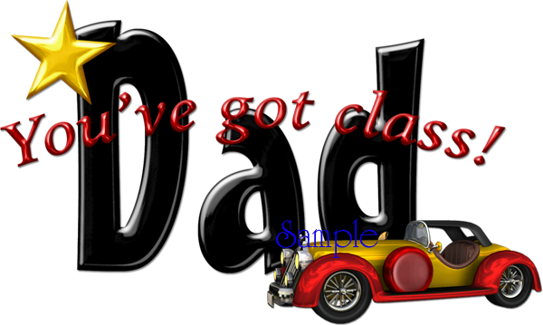 Classic Dad Word Art Red.