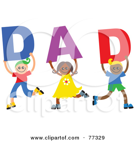 Clipart of Alphabet Stick Children Forming a Word in Happy Fathers.