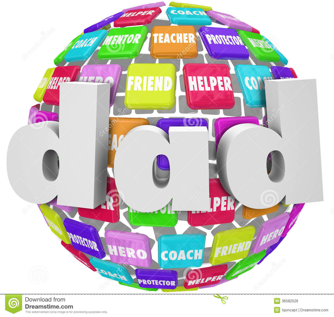 Dad Word Sphere Father Parenting Relationship Roles Royalty Free.