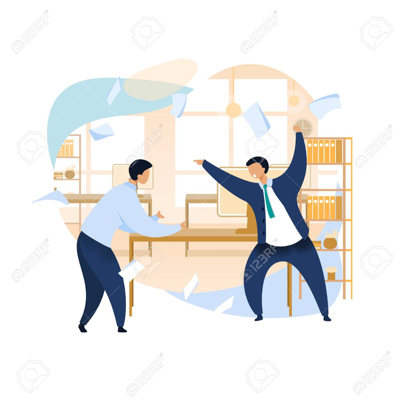 Angry Boss Shouting at Employee Vector Clipart. Work Rush, Office...