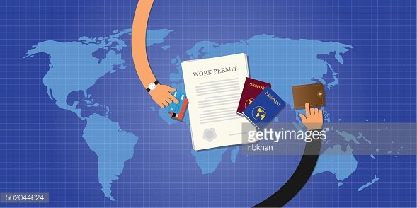 work permit application document passport id card Clipart.