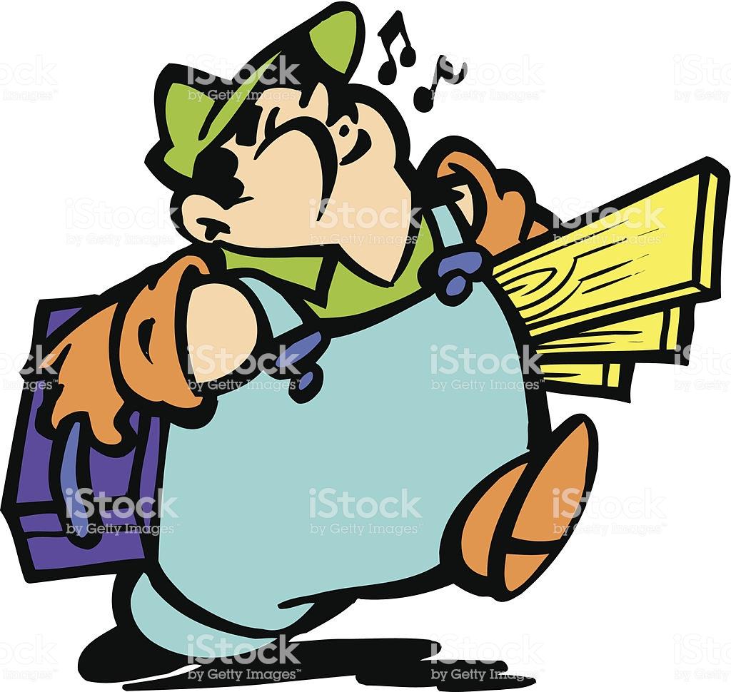 Construction Working Man Vector Clipart Design Stock Illustration.