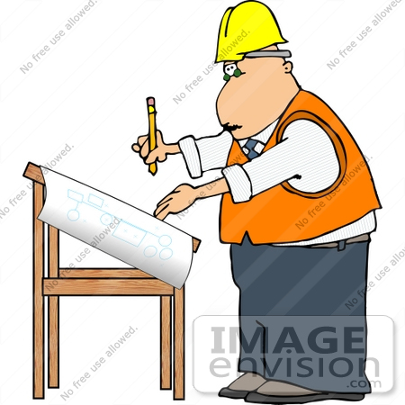 Project Engineer Architect Man Working on Blueprints Clipart.