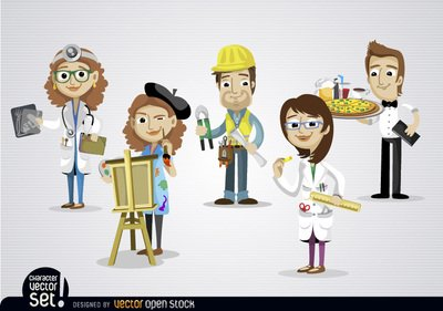 Free People working in different jobs Clipart and Vector Graphics.