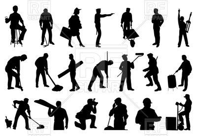 Silhouettes of working people Vector Image.