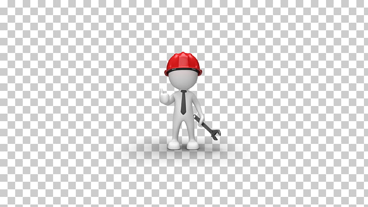 White maintenance workman wearing a helmet PNG clipart.