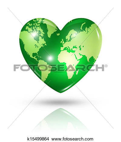 Drawings of Love earth, heart icon k15499864.