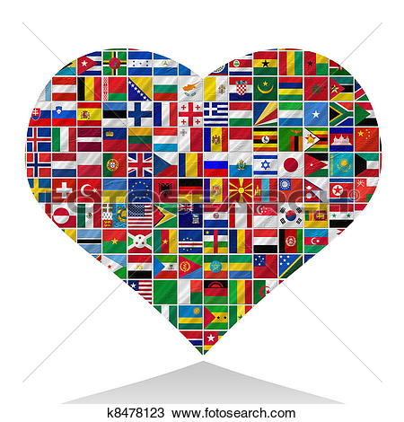 Drawing of world flags with heart k8478123.