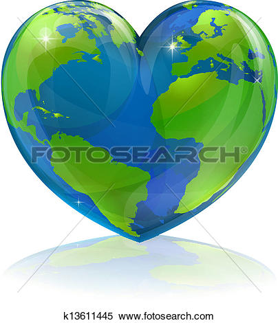 Clipart of Love the world heart concept k13611445.