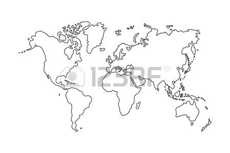 Clipart World Map Outline Clipground - World map drawing outline