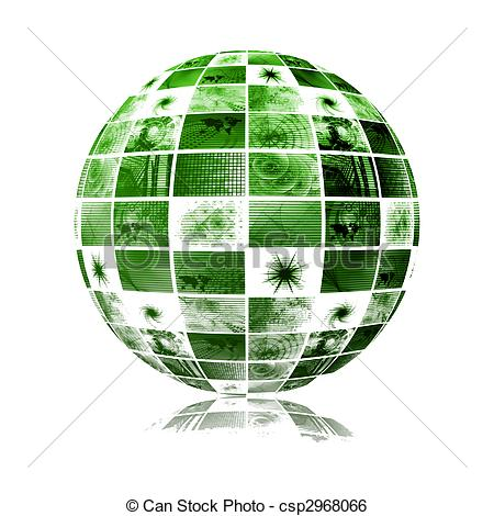 Stock Illustration of Global Media Technology World Sphere Clip.