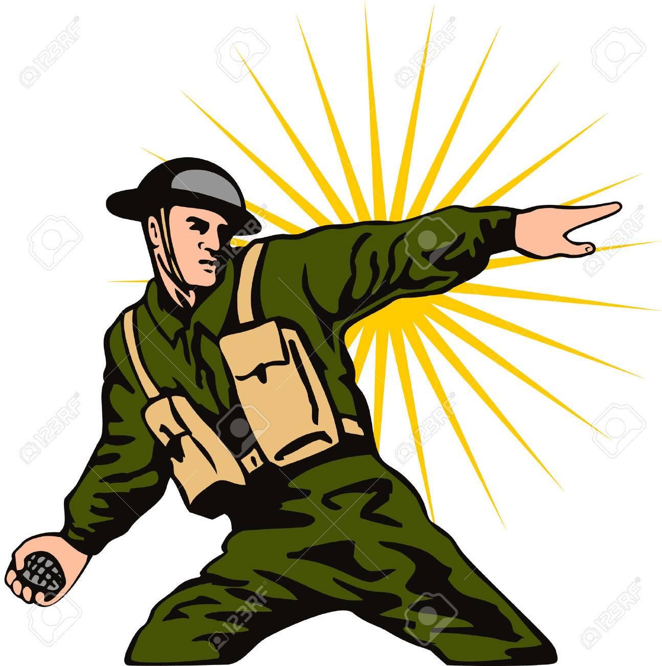 World war 2 soldier throwing a grenade.