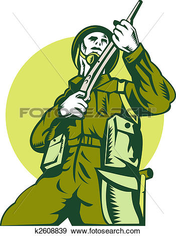 Stock Illustration of world war two british Soldier with rifle.