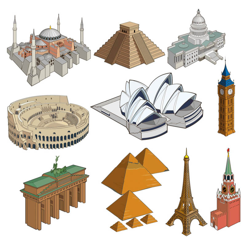 World landmarks vector.