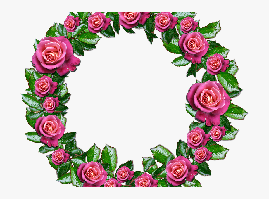 Floral Wreath Png With Pink Roses And Leafs.