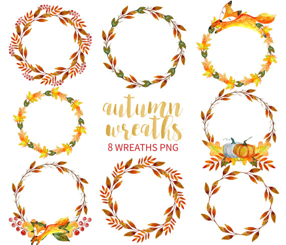 Autumn Wreath Clipart, Watercolor Wreath Clipart, Hand Drawn Wreaths.