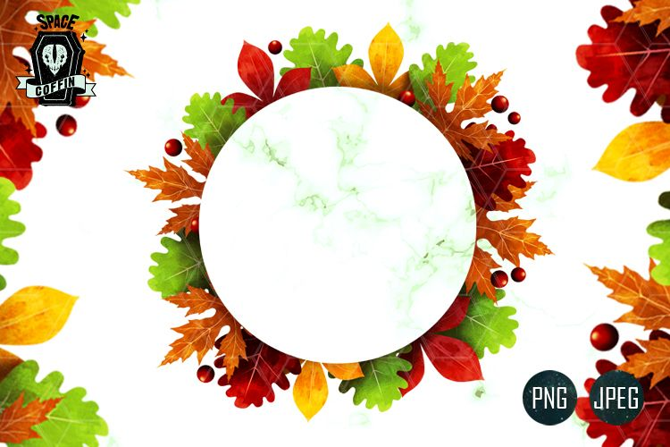 Fall Autumn CLIPART Wreath PNG.