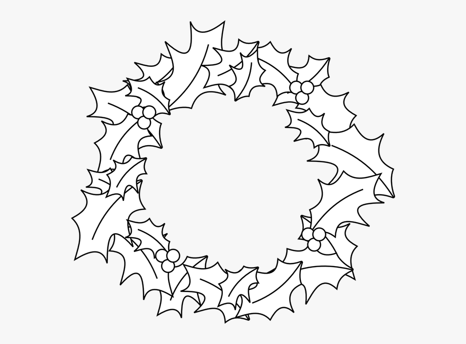 Black And White Christmas Wreath Clipart.