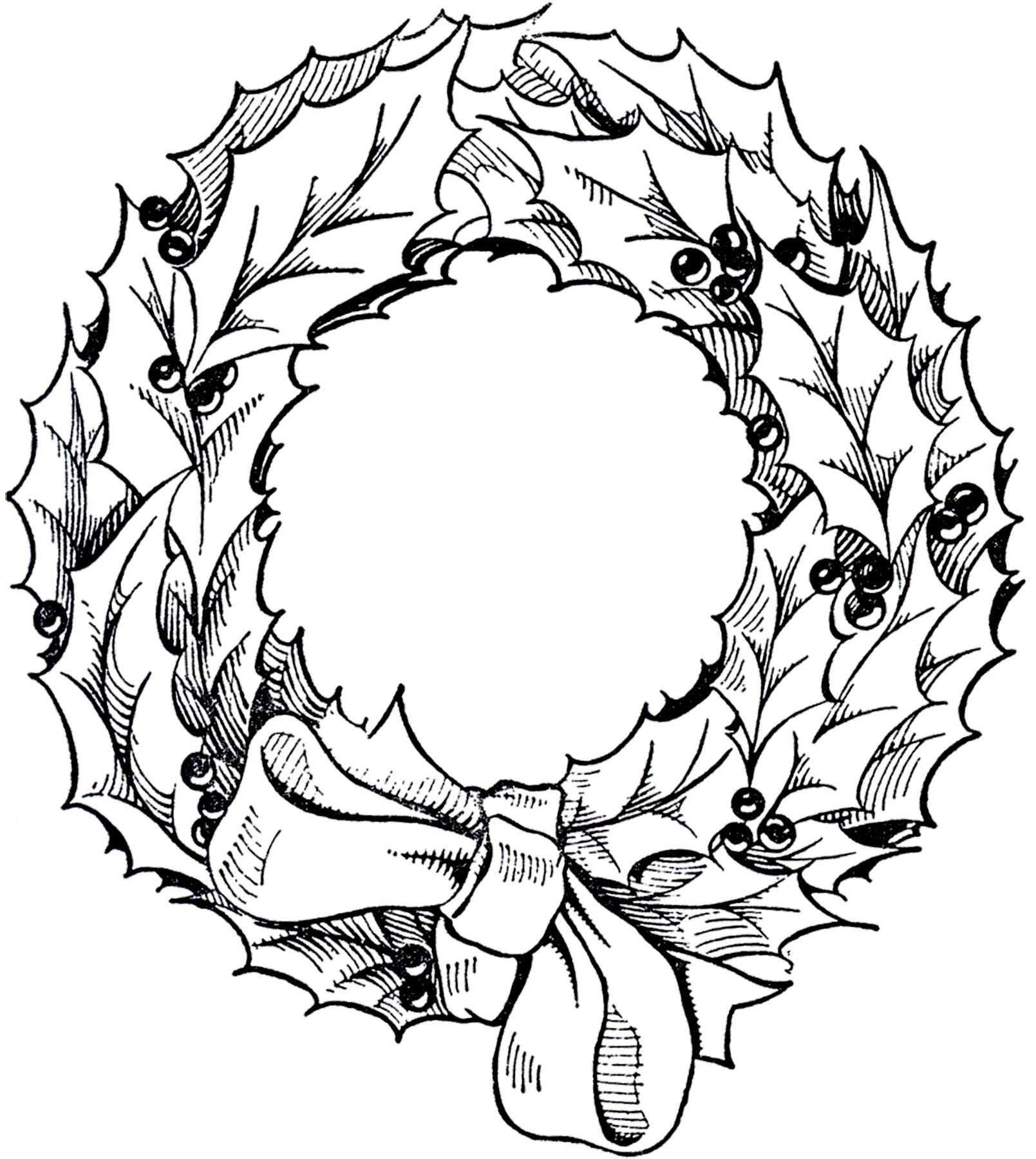 Christmas Wreath Clipart Black And White Group (+), HD Clipart.