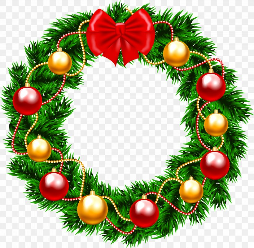 Wreath Christmas Day Garland Clip Art, PNG, 5968x5826px.