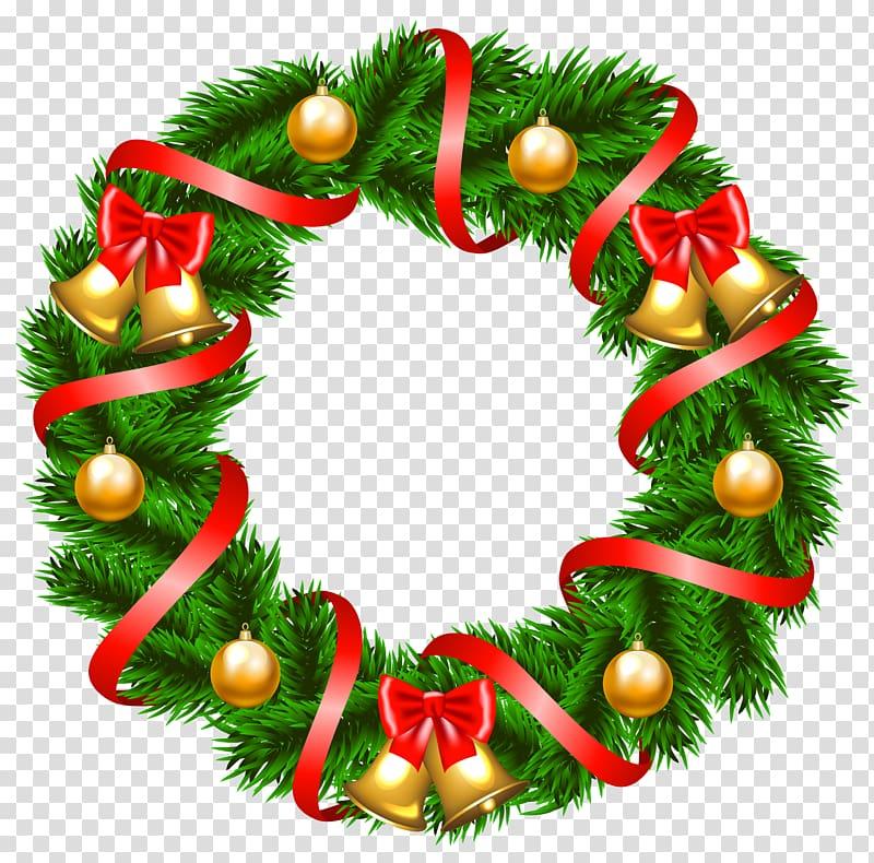 Green wreath illustration, Wreath Christmas decoration.