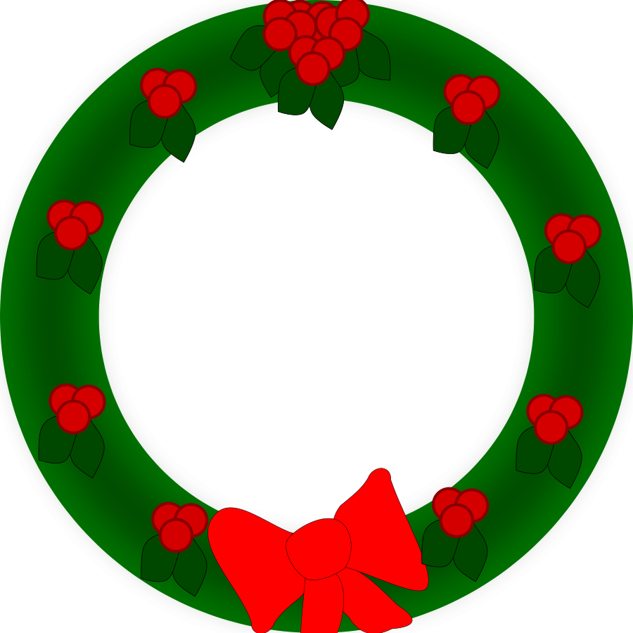 Clip art of holiday wreath.
